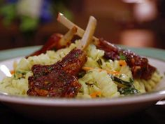 Asian Lollipop Lamb Chops with Creamy Fusilli Pasta Recipe from Sam Choy. 4 1/2 of 5 Stars, 18 Reviews | Food Network. Note: Sam says can easily sub pork, beef, or chicken, esp. chicken.