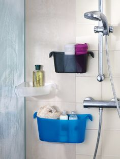 Whether for shower gel, bubble bath, creams or cosmetics, shower organizer BOKS is utterly accommodating. Home Organisation, Organization, Organizer Box, Co2 Neutral, Bubble Bath, Shower Gel, Bubbles, Sink, Towel