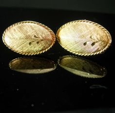 Gold Elegance Cufflinks Vintage Diamond Cut by NeatstuffAntiques