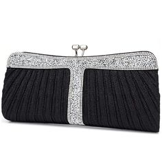 Huifany Womens Crystal Satin Pleated Wedding Special Occasion Evening Handbags//Clutch