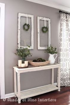 Living Room decor - rustic farmhouse style with painted white console table, old window frames
