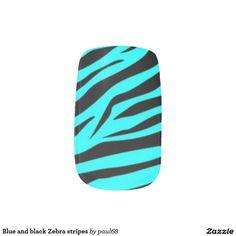 Blue and black Zebra stripes Minx® Nail Wraps