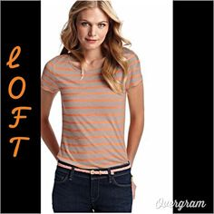 Orange Striped Top 100% rayon. Very soft and comfortable.  New with tags. Beige with orange stripe. New this spring. LOFT Tops