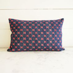 Loom Modern // Antique Vintage Chinese Embroidered Pattern Lumbar Pillow Cover in Red and Blue