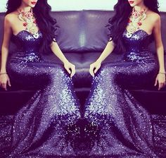 All sequin gown. #navyblue #prom Lavender Prom Dresses, Purple Gowns, Sequin Prom Dresses, Sequin Dress, Purple Dress, Fancy Gowns, Formal Gowns, Elegant Gowns, Dress And Heels