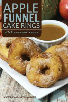 Apple Funnel Cake Rings with Caramel Sauce