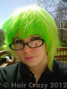 Photo of xdrdeex using Manic Panic Electric Banana, other (not listed) - April 2012 a. Manic Panic Hair Color, Neon Green Hair, Coloured Hair, Banana, Hair Styles, Beautiful, Fashion, Colorful Hair, Hair Plait Styles