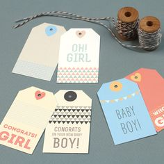Free Printable New Baby Gift Tags from Love vs. Design