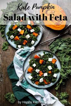This Kale Pumpkin Salad with Feta and Pesto Dressing is easy-to-make, fast, healthy and delicious. It's the perfect fall kale salad with squash and it comes together in less than 30 minutes. Kale salads are a healthy, simple, and incredibly flavorful meal. Vegetarian Comfort Food, Best Vegetarian Recipes, Pesto Dressing, Pumpkin Salad, Happy Kitchen, Feta, Kale Salads, Dinner Recipes, Meals