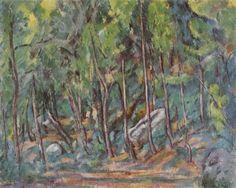 Paul Cézanne.  Im Wald von Fontainebleau. 1879-1882, Öl auf Leinwand, 64 × 80 cm. Privatsammlung. Landschaftsmalerei. Frankreich. Postimpressionismus.  KO 01106