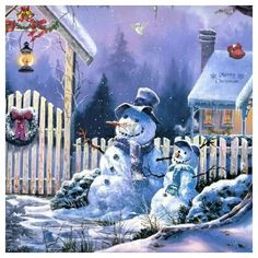 Beautiful scenery with Mr. Snowman and his son. How sweet is this?