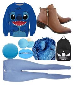 """""""BLUE!  BYE 2016! #2017#Blue#2016#Polyvore#JoinMyGroup#Bio#Boots#Jeans#Stitch#Lilo#Disney#eos"""" by hashtagdoi ❤ liked on Polyvore featuring New Look, Topshop, Urban Decay, Eos and Lauren B. Beauty"""