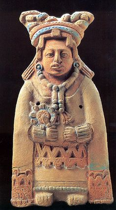 Mayan Woman ceramic Figurine from Jaina, ca. 800-1000 AD, The sculpture was made from a mold and then decorated by hand. It was found just off the Yucatan Peninsula on a small Island called Jaina.Jaina was a Maya burial site.