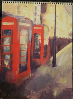 Emily Paints English Phone Booths while in London