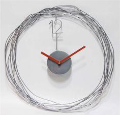 Minimalist modern design in metal wire gives this clock its distinctive style. Style # at Lamps Plus. Contemporary Clocks, Modern Clock, Home Clock, Diy Clock, Living Room Clocks, Cool Clocks, Big Wall Clocks, Clock Wall, Wall Watch