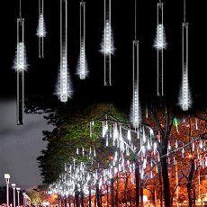 Sunvito 8 Tubes 30cm 144 Leds Shower Meteor Rain Light for Wedding Party Christmas Xmas Decoration Waterproof Lights (White)