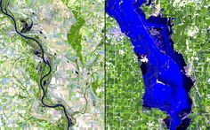 Pin for Later: The Climate Is Changing — and NASA Has the Proof Flood, Iowa Left: Sept. 24, 2010. Right: Aug. 2, 2011. Source: NASA Images of Change