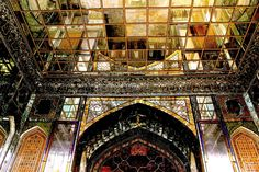 Mirrored ceilings of the Shams-al Emarat, an imposing feature of the palace complex, are reminiscent of an extravagant period for architecture that combined European and Persian architectural traditions.