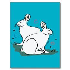 Cute white rabbit image 5b postcard
