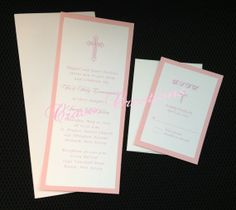 Simple Pink &  White First Communion Invitation by CravoCreation, $2.75