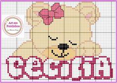 Girl Names, Alphabet, Teddy Bear, Small Cross Stitch, Cross Stitch Flowers, Cross Stitch Baby, Female Names, Infant Girls, Monogram Alphabet