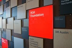 Top level donors are internally illuminated red plaques, a nod to the original Austin Children's Museum identity.