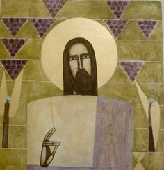 The Wine Grower - Contemporary icon of Christ by Natalya Rusetska