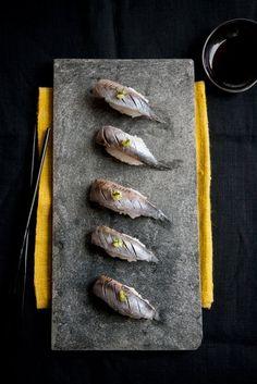 Nigiri, by Aya Nishimura Japanese Food Sushi, Japanese Dishes, Wontons, Food Photography Styling, Food Styling, Sashimi Sushi, Sushi Love, Sushi Recipes, Fish And Seafood