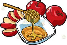 Apples and honey :  Two whole and one sliced red apples served with a white bowl…