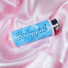 BLUE BABYGIRL Bic lighter case covered in blue clouds, gradient blue text! So cutee! ♥ Artwork designed myself. ♥ 100% handmade with love! ♥
