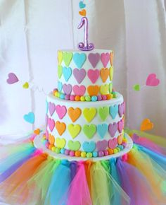 Rainbow First Birthday Cake Rainbow first birthday cake inspired by Wild Orchid Baking Company. Dayglo, girly colors!