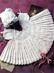 Mary Grace Crochet Pattern Download from AnniesCatalog.com -- This crocheted dress and bonnet set is perfect for christenings or any special occasion.