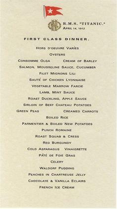 menu for First class passengers