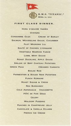 A typical menu for 1st class passengers