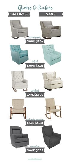 Splurge vs Save: Nursery Gliders | An awesome resource of high end and affordable nursery chairs. Definitely pin this one to look at later!