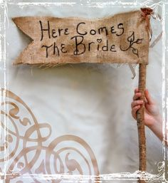 Here Comes The Bride - Rustic Burlap Wedding Banner - Spring Summer Wedding - Flower Girl - Ring Bearer. $37.50, via Etsy.