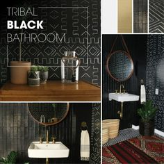 Bold patterns and unique details bring out an eclectic style in this Tribal Black Bathroom. #kohlerideas #bathroomdesign