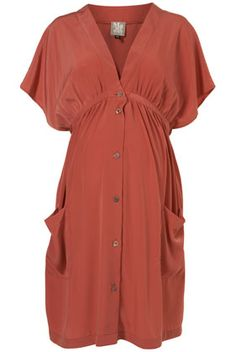 Topshop Maternity/Nursing dress. Kimono silhouette, terracotta, pockets.