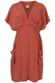 Topshop Maternity/Nursing dress. Kimono silhouette, terracotta, pockets.