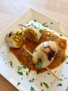 Chorizo + Rice Stuffed Squid #recipe #appetizer #calamari