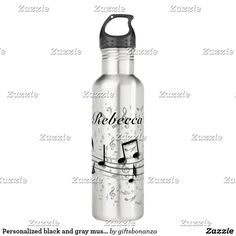 Personalized black and gray musical notes stainless steel water bottle