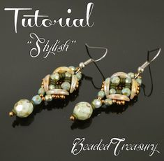Stylish - beaded earrings tutorial, beading pattern, Crescent bead pattern, seed beads, Demi Round bead pattern / TUTORIAL ONLY