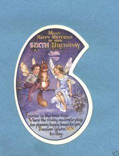 vintage Rene Cloke art birthday card fairies squirrels❤•❦•:*´¨`*:•❦•❤