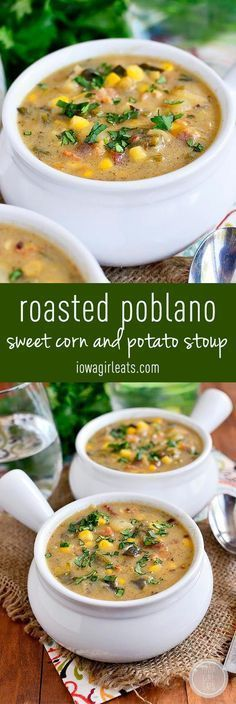 Thicker than soup yet thinner than stew, Roasted Poblano, Sweet Corn and Potato Stoup is warming and filling. You will go back for bowl after bowl! #glutenfree   iowagirleats.com