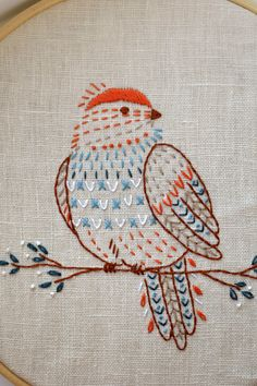 Paper Embroidery Patterns Bird hand embroidery pattern PDF pages) Embroidery Stitches Tutorial, Simple Embroidery, Embroidery Patterns Free, Learn Embroidery, Embroidery Transfers, Embroidery Hoop Art, Crewel Embroidery, Hand Embroidery Designs, Vintage Embroidery