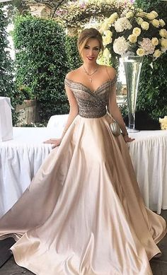 2018 prom dress, formal evening dress, off the shoulder champagne long prom dress, party dress, formal evening dress