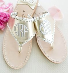 Gold Monogrammed Jack Rogers Sandals/love the dif styles on this site Cute Shoes, Me Too Shoes, Preppy Style, My Style, Preppy Girl, Jack Rogers Sandals, Toms, Wedding Shoes, Dream Wedding