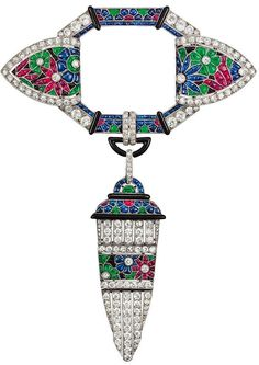 Brooch, Paris, 1924. Platinum mounted pearls, brilliant-cut diamonds, rubies, sapphires and emeralds