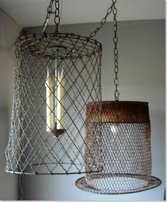 wire basket lighting- line with burlap to soften
