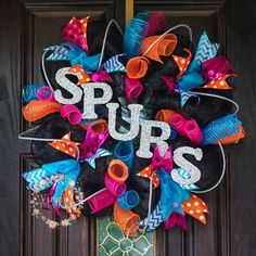 Hey, I found this really awesome Etsy listing at https://www.etsy.com/listing/229826199/retro-spurs-wreath-san-antonio-spurs
